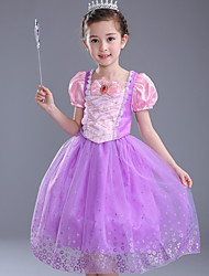 Ball Gown Tea-length Flower Girl Dress - Satin Tulle Polyester Square with Bow(s) Crystal Detailing Pattern / Print Ruffles
