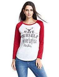 Tee-shirt Femme,Imprimé / Couleur Pleine Sortie / Décontracté / Quotidien / Grandes Tailles simple / Chic de Rue Printemps / Automne