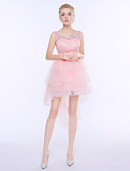 Short / Mini Georgette Bridesmaid Dress - Princess Scoop with Bow(s)