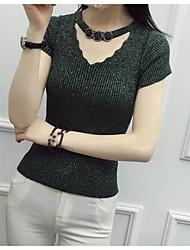 Tee-shirt Femme,Couleur Pleine Décontracté / Quotidien simple Manches Courtes Col en V Fibre de bambou Nylon Spandex