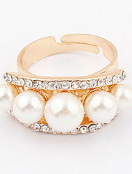 Korean Style Leaf Luxuriant Noble Qualities Of Pearl Rhinestone  Ring Gift Jewelry