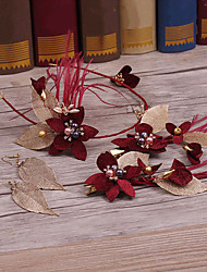 Сплав имитация жемчужина ткань головной убор-свадьба специальный случай случайные наружные повязки цветы 5 штук