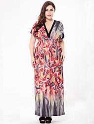 SWEET CURVE Women's Plus Size Vintage Boho Loose Dress,Print Deep V Maxi Short Sleeve Polyester Summer Fall High Rise Micro-elastic Medium