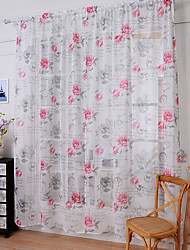 One Panel Curtain Country Peony Sheer Curtains Shades Home Decoration For Window W145cm*L150cm