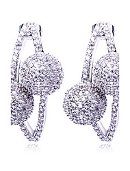Women Drop Earrings Couple Balls Linked CZ Mounted Rhodium or Gold-color Super Cute Pendientes Tipo Gota