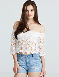 Women's Off The Shoulder/Lace Sexy/Beach Micro Elastic Short Sleeve Short Blouse (Lace)