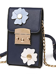 Women PU Casual Shoulder Bag Black Blue