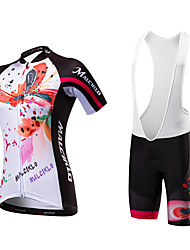 Cycling Jersey with Bib Shorts Women's Short Sleeves Bike Bib Tights Jersey Quick Dry Anatomic Design Ultraviolet Resistant Moisture