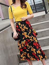 Для женщин На выход На каждый день Офис Как у футболки Юбки Костюмы Лацкан с тупым углом,Сексуальные платья просто МилыеОднотонный