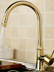 Contemporain Traditionnel Débit Normal Set de centre large spary Pivotant with  Soupape céramique Mitigeur un trou for  Chrome , Robinet