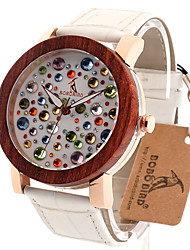 Women's Fashion Watch Wrist watch Unique Creative Watch Casual Watch Wood Watch Japanese Quartz Japanese Quartz Wooden Genuine Leather