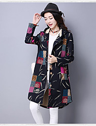 Women's Casual/Daily Vintage Fall Coat,Floral Round Neck Long Sleeve Long Linen