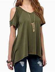 Damen Solide Einfach Lässig/Alltäglich Strand T-shirt,V-Ausschnitt Sommer Kurzarm Polyester Dünn