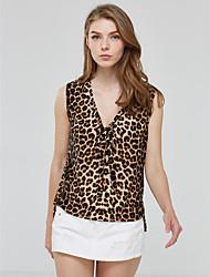 Tee-shirt Aux femmes,Léopard Décontracté / Quotidien Vintage Eté Sans Manches Col en V Jaune Polyester Moyen
