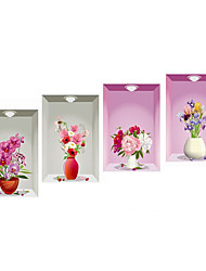 3D Wall Stickers Wall Decals Style Beautiful Vase PVC Wall Stickers