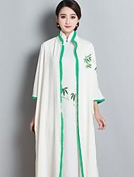 Balançoire Robe Femme Soirée / Cocktail Chinoiserie,Broderie Col en V Midi Manches ¾ Autres Printemps Taille Normale Micro-élastique Fin