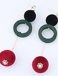 Drop Earrings Euramerican Fashion Wood Alloy Circle Jewelry 1 Pair