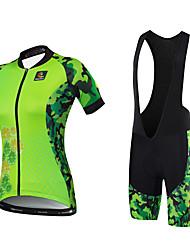 Cycling Jersey with Bib Shorts Women's Short Sleeve Bike Jersey Bib Tights Clothing SuitsQuick Dry Anatomic Design Water Bottle Pocket