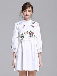 Feminino Camisa Vestido,Para Noite Casual Trabalho Simples Moda de Rua Sólido Colarinho Chinês Acima do Joelho Manga Longa Algodão