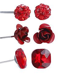 Conjunto de Jóias Jóias Floral Africa Estilo simples Bijuteria Religiosa Estilo bonito Confeccionada à Mão Liga Formato de Flor Vermelho