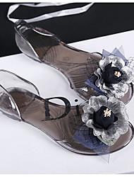 Women's Slippers & Flip-Flops Light Up Shoes T-Strap Neoprene Dress Flat Heel Pink Black