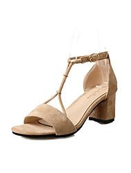 Feminino Sandálias Sapatos clube Flanelado Couro Ecológico Primavera Verão Casual Social Sapatos clube Presilha Salto Grosso Preto Bege5