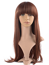 Very Long Wig Red Color Synthetic Fiber Straight Costume Wig