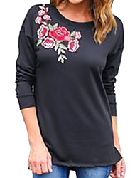 Damen Stickerei Einfach Lässig/Alltäglich T-shirt,Rundhalsausschnitt Frühling Langarm Baumwolle Undurchsichtig