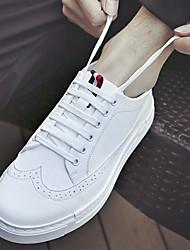 Men's Sneakers Spring Fall Comfort Cowhide Casual Flat Heel White Black