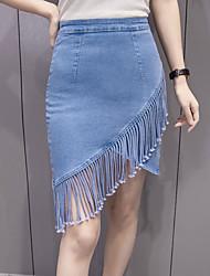 Femme Taille Haute Au dessus des genoux Jupes,Moulante Franges Couleur Pleine