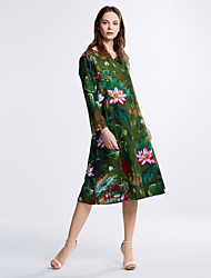 Going out Street chic Loose Dress,Print Round Neck Midi Long Sleeve Cotton Linen Green Fall Mid Rise Inelastic