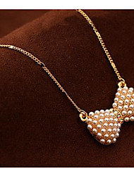 Fashion Small Pure And Fresh And Clavicle Bowknot Pearl Necklace