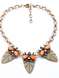 Women's Strands Necklaces Leaf Chrome Unique Design Euramerican Orange Jewelry For Casual Christmas Gifts 1pc