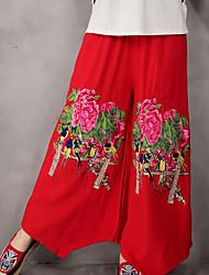 signe printemps 2017 lin théâtre pantalons jambes larges broderie vent national élastique à la taille pantalons pantalons