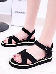 Черный Хаки-Для женщин-Повседневный-ПолиуретанУдобная обувь-Сандалии