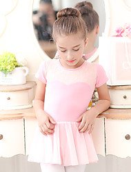 Ballet Dresses Kid's Training Chiffon Cotton Lace 1 Piece Short Sleeve