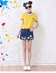 Femme Taille Haute Mini Jupes,Moulante Fleur