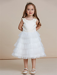 A-line Knee-length Flower Girl Dress - Satin Tulle Jewel with Flower(s) Cascading Ruffles