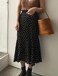 Women's Midi Skirts,Sexy Trumpet/Mermaid Polka Dots Polka Dot