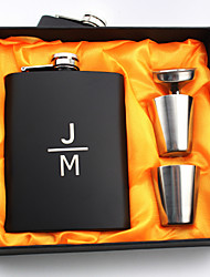 Personalized Stainless Steel 8-oz Black /Pink Flask Set  Hip Flasks Initials