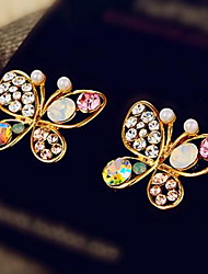Noble Elegant Pearl Butterfly Hollow Out Of The Atmosphere Fashion Diamond Stud Earrings Earrings