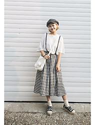 Femme Taille Haute Midi Jupes,Crochet A Carreaux