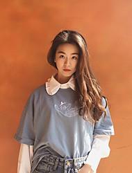 Damen Buchstabe Einfach Niedlich Street Schick Ausgehen Lässig/Alltäglich T-shirt,Rundhalsausschnitt Alle Saisons Langarm Baumwolle Mittel