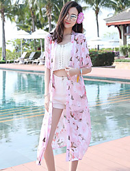 Women's Beach Going out Casual/Daily Simple Cute Boho Summer Jacket,Plaid Peter Pan Collar ½ Length Sleeve Long Polyester