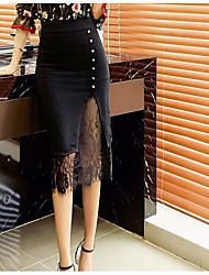 Women's High Rise Midi Skirts Pencil Solid