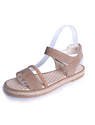 Women's Sandals Creepers PU Spring Summer Casual Dress Creepers Magic Tape Flat Heel Black Light Brown Under 1in