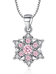 Women's Pendant Necklaces AAA Cubic Zirconia Circle Cubic Zirconia Platinum Plated Flower Style Blushing Pink White Jewelry ForWedding