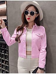 Casual/Daily Simple Denim Jacket,Solid Square Neck Long Sleeve Spring Hand wash Cotton Short