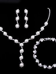Set de Bijoux Collier de perles Perle imitée Zircon cubique Mode Multivoies Porter Alliage Forme Ronde Blanc1 Collier 1 Paire de Boucles