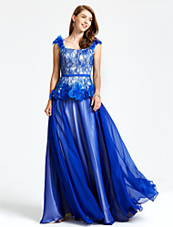 TS Couture Formal Evening Dress - Open Back Floral A-line Straps Floor-length Chiffon Lace with Beading Flower(s) Sash / Ribbon